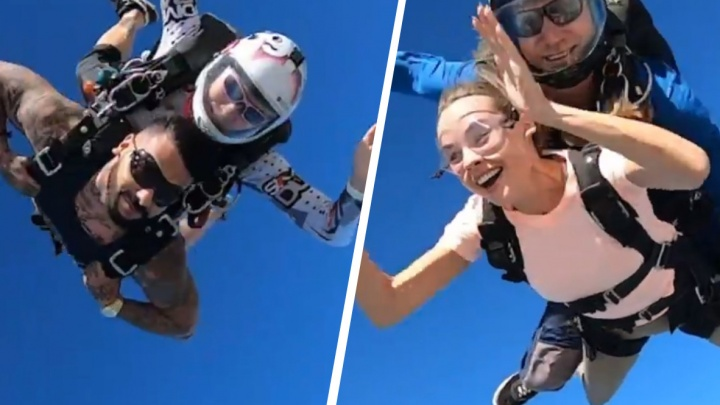 Тимати поздравил уральскую модель с днем рождения прыжком с парашютом в Дубае