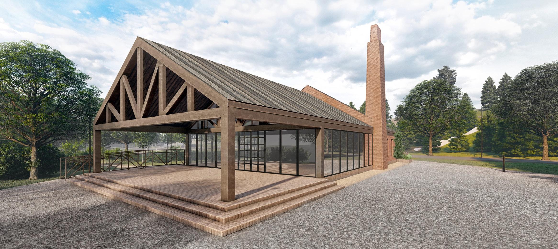 Здание визит-центра — отсылка к первым кирпичным заводам. Здесь разместятся администрация парка, кафе и теплые туалеты, а места хватит для того, чтобы собирать горожан на лекции, например