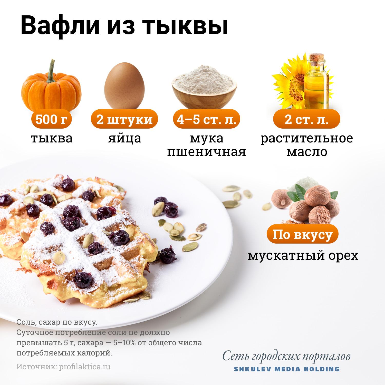 Какие продукты нужны для вафель из тыквы