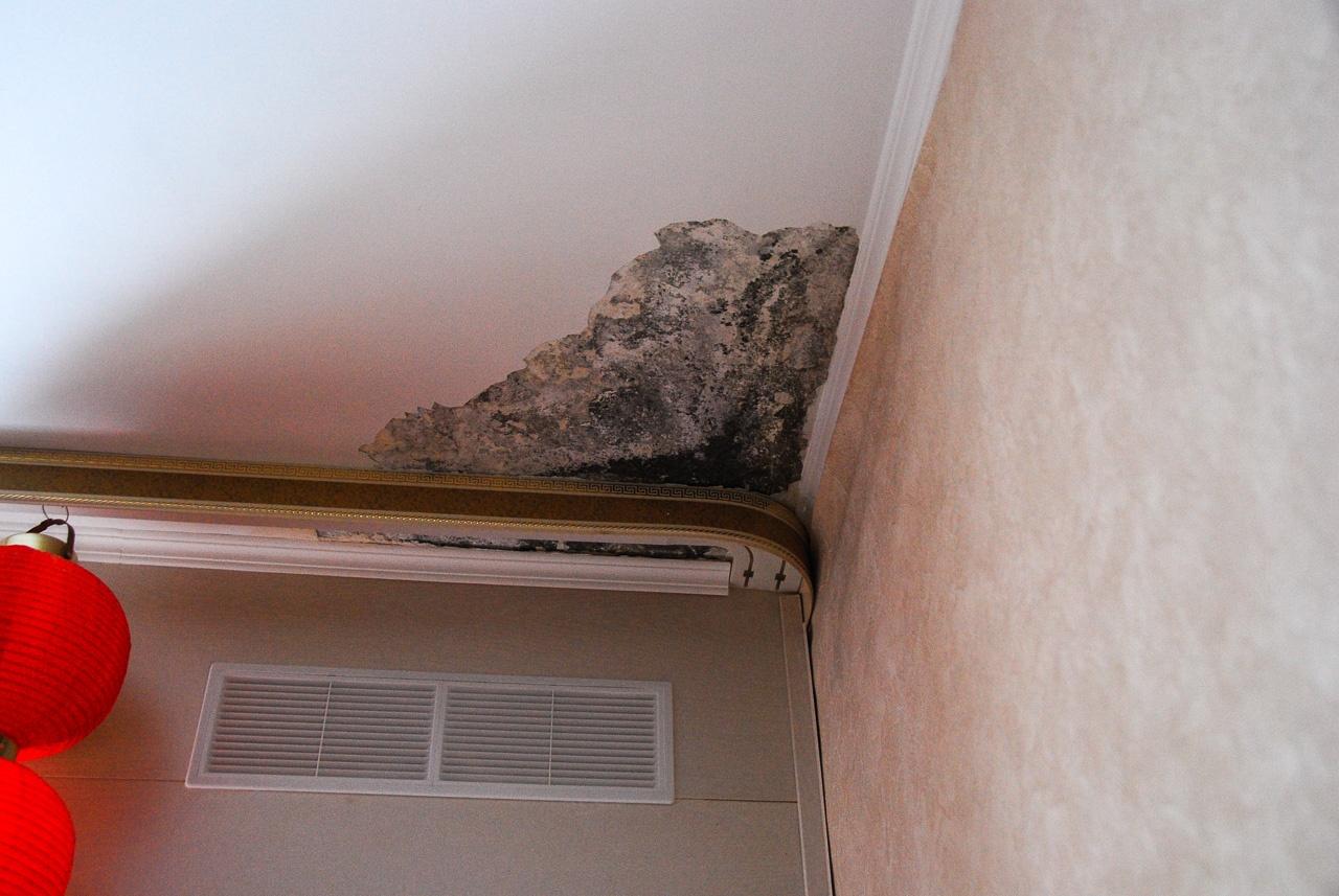 Следы протечек в одной из квартир. Раньше, говорят, было гораздо хуже — весь потолок в плесени