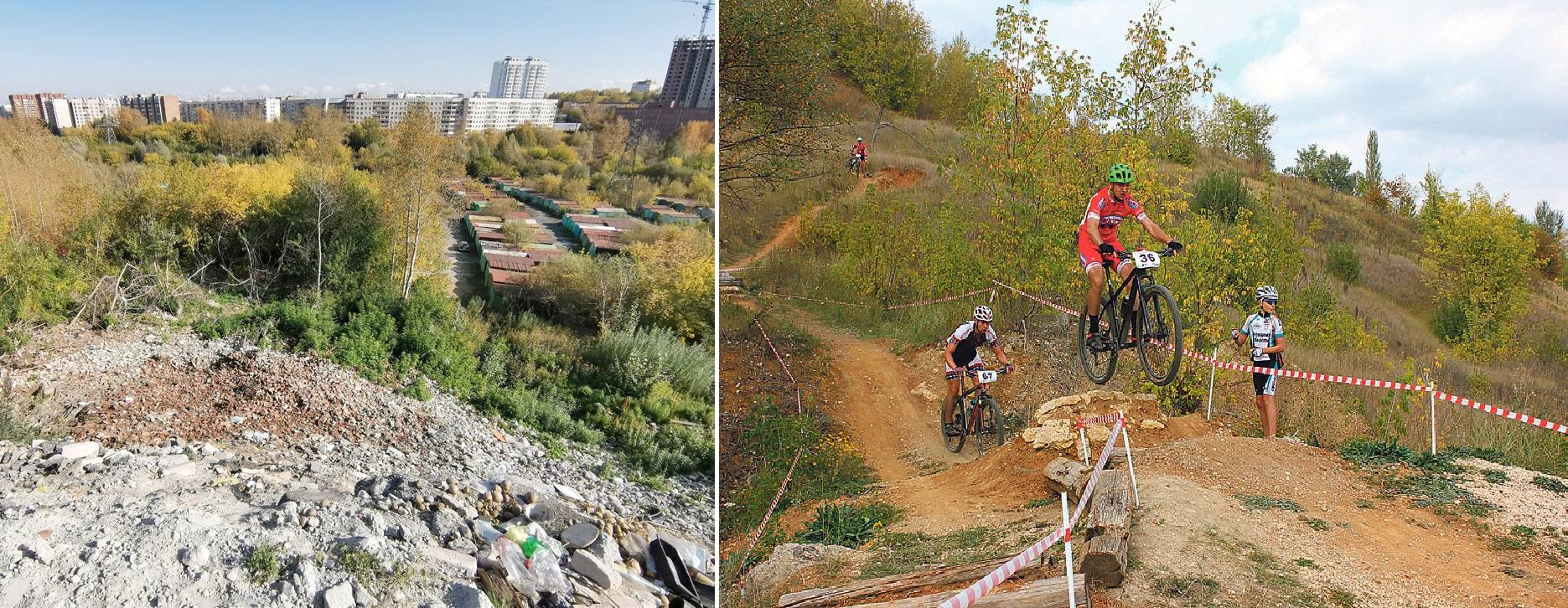Огромная гора строительного мусора (слева) в будущем должна стать площадкой для экстремальных видов спорта, например, для гонок на горном велосипеде