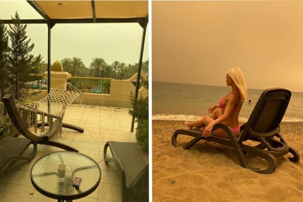 Морские пейзажи в Турции выглядят сейчас сурово из-за смога, а на террасу падает пепел