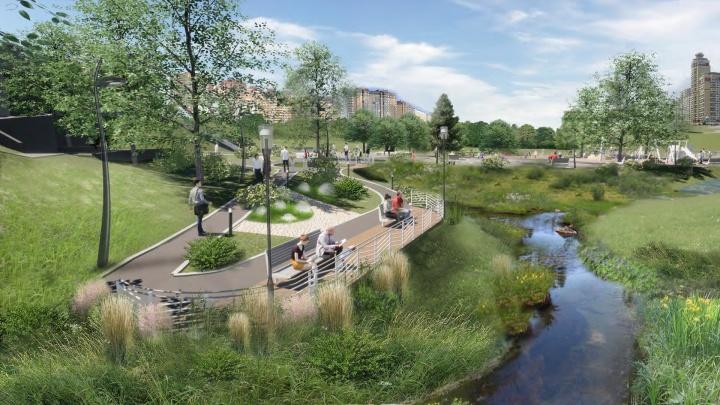 Возле реки в Заельцовском районе разобьют новый парк — 8 картинок проекта, который представили новосибирцам