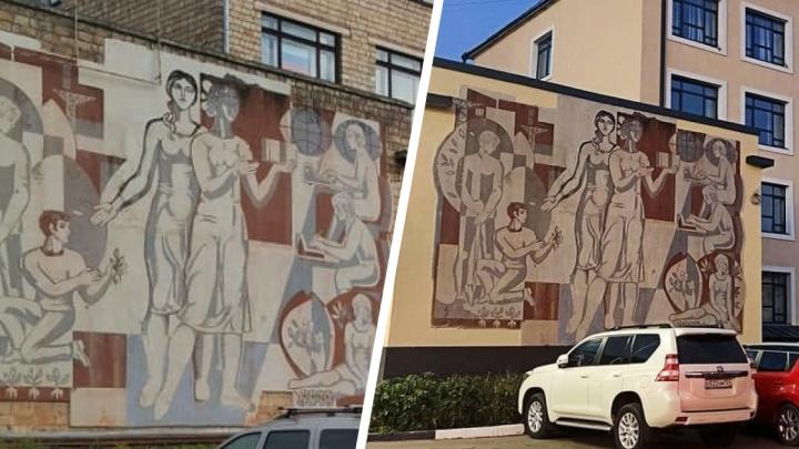На Маерчака отреставрировали фреску на здании. Архитектор рассказал, почему важно сохранять эти объекты