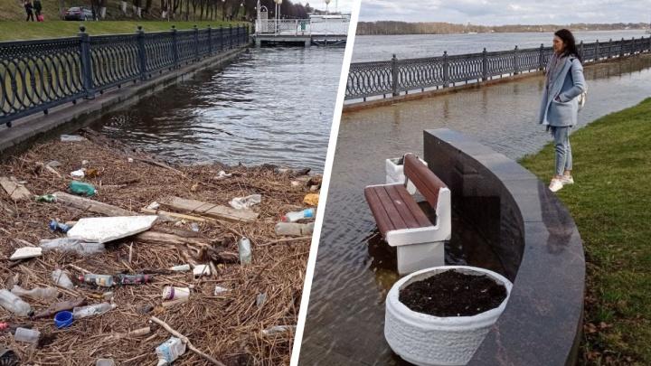 В Ярославле набережная ушла под воду и всплыли кучи мусора: смотрим, что происходит прямо сейчас