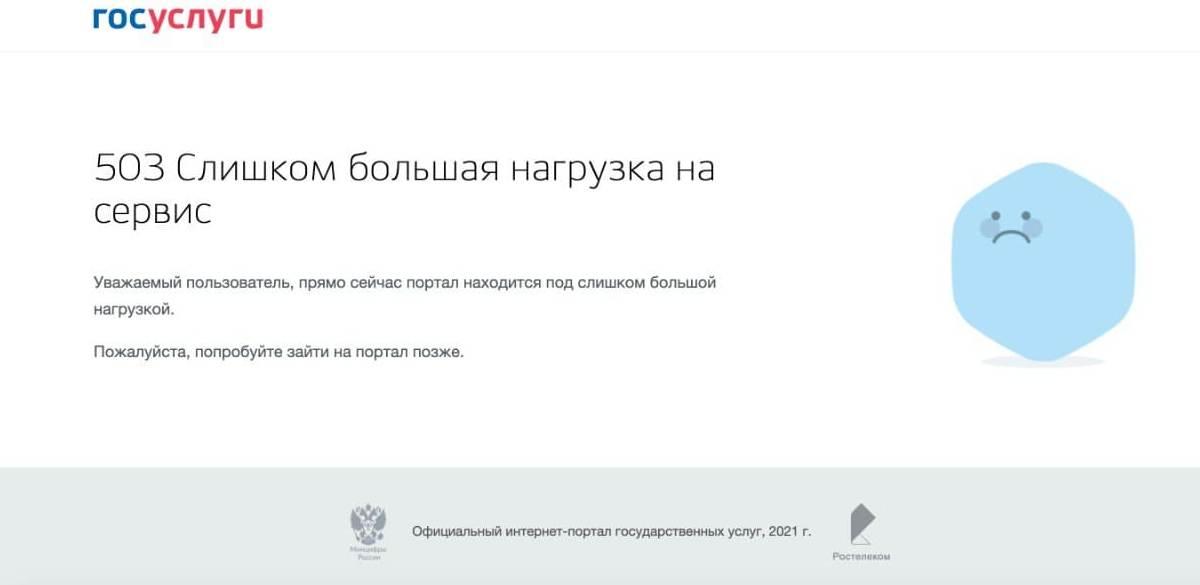 Скриншот с сайта Госуслуг