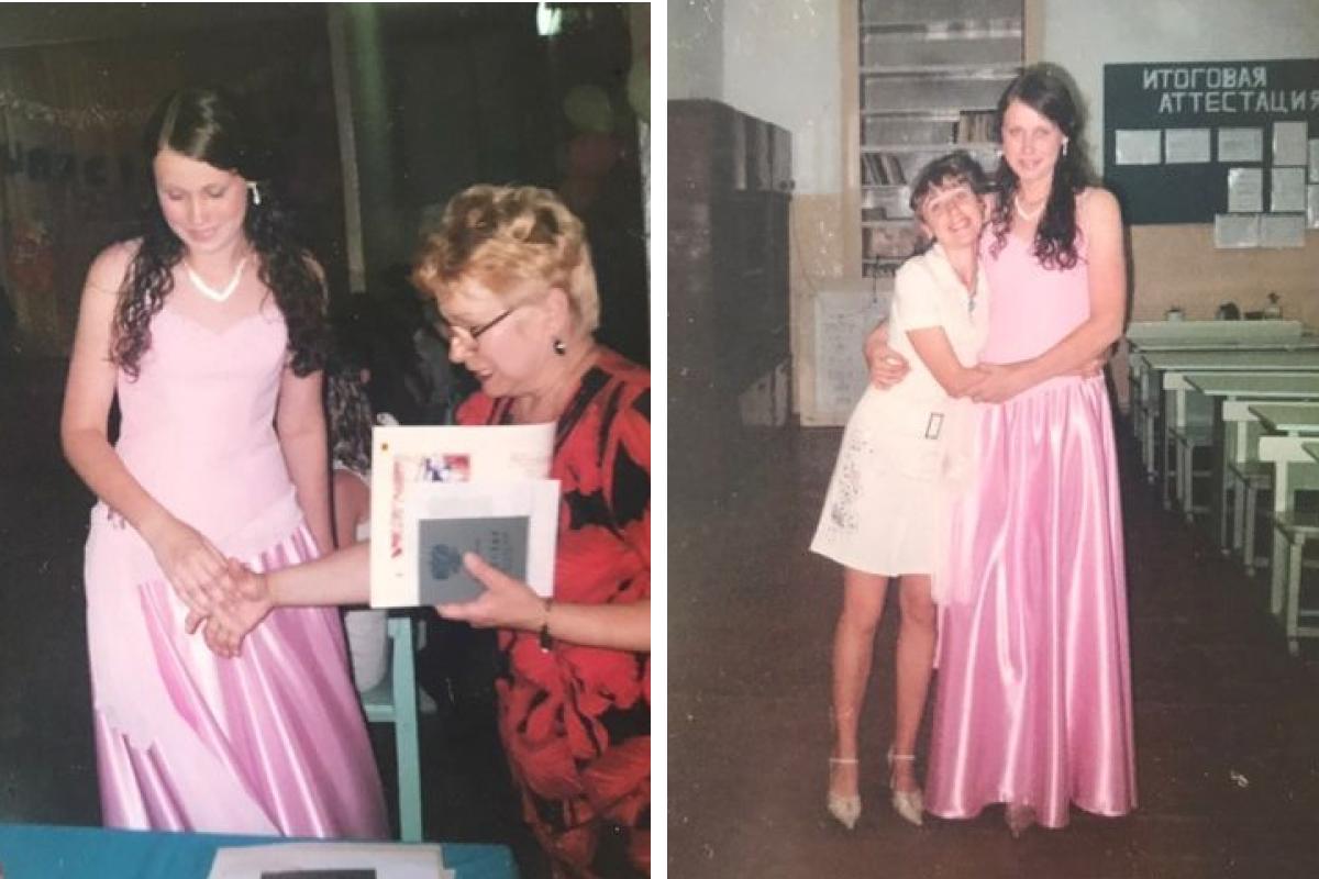 Ольга взяла свое выпускное платье напрокат