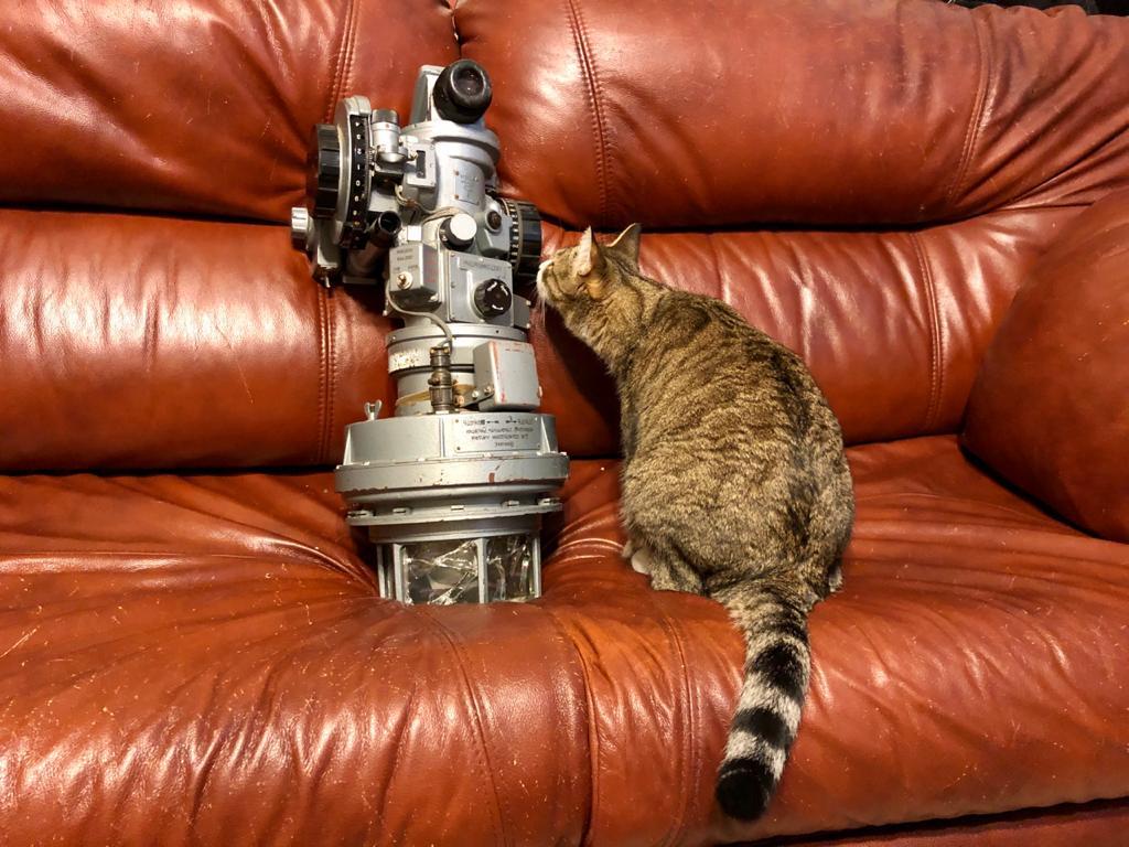 """У Марии три кота. На этом фото кот Толик исследует купленный для самолета секстант <nobr class=""""_"""">СП-1М</nobr>"""
