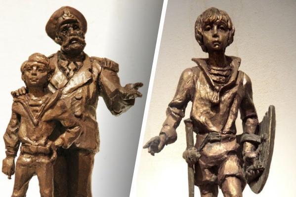 Слева — персонажи повести «Летчик для особых поручений», справа — главный герой повести «Дети Синего фламинго»