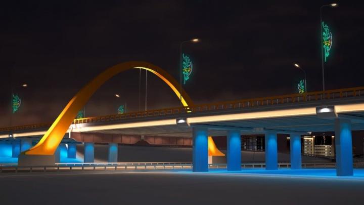 Оранжевая дуга на мосту при въезде в Сургут обретет яркую подсветку. Работы начались сегодня