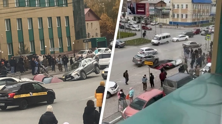 Две машины провалились под асфальт на перекрестке Фрунзе и Семьи Шамшиных