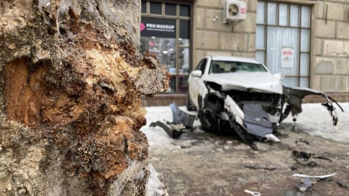 Врезался в дерево и отлетел на тротуар: назван виновник жесткой аварии на перекрестке в центре Волгограда