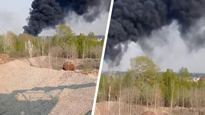 В Ленинском районе возле СНТ произошел масштабный пожар — дым был заметен даже на правом берегу