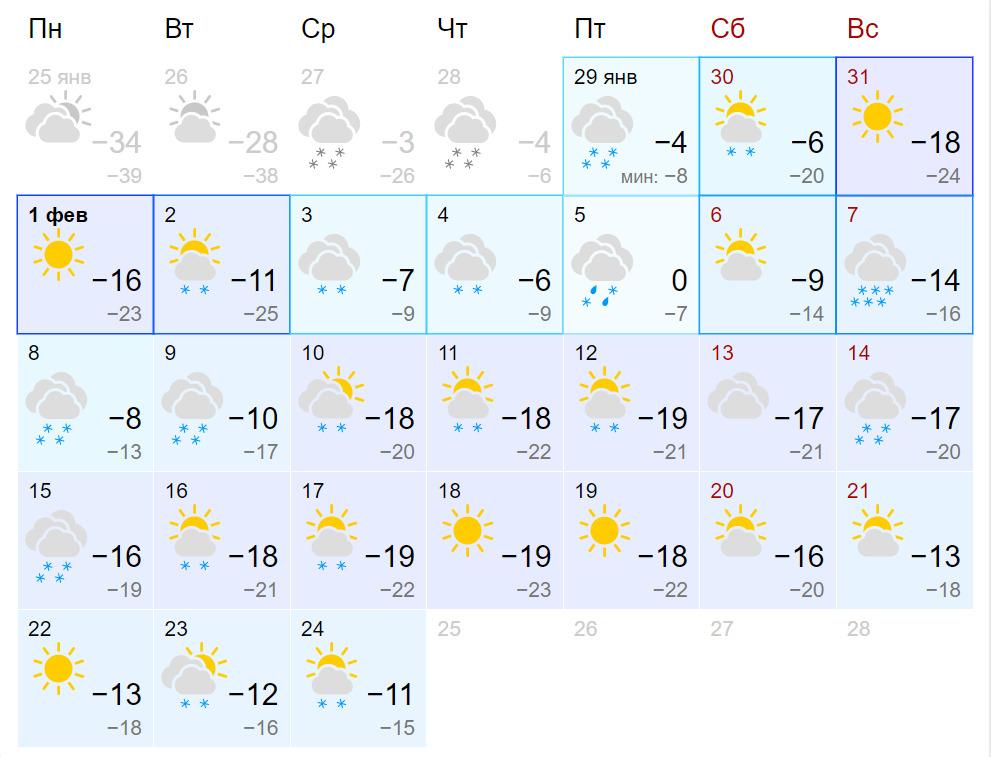 Самый теплый день выпадет на 5 февраля, когда воздух прогреется до 0 градусов