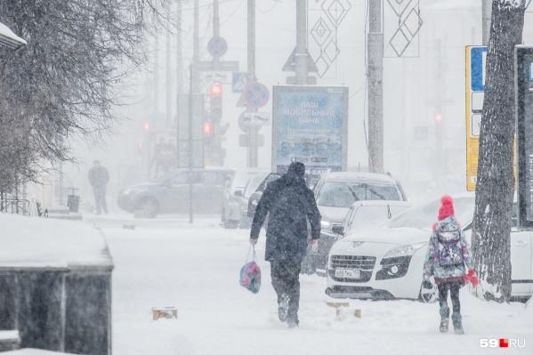 В первый день января в Перми были снегопады