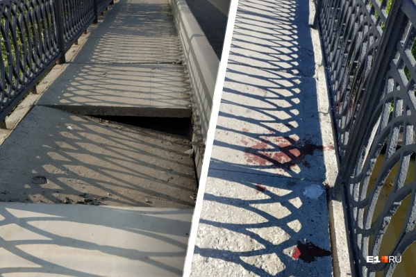Горожане заметили на мосту следы, похожие на кровь