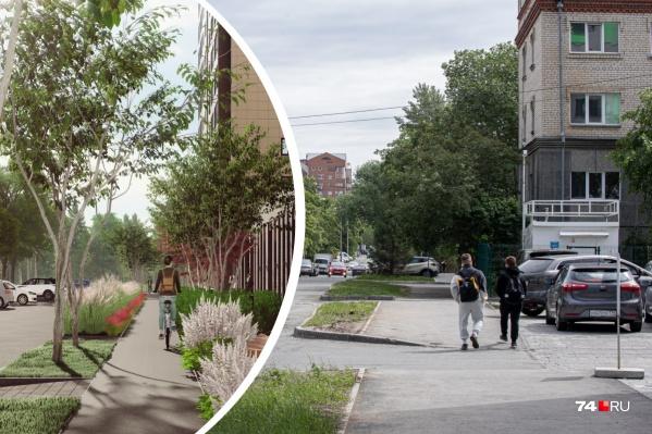 Вдоль тротуаров запроектировали небольшие уютные зоны со скамейками и велодорожками