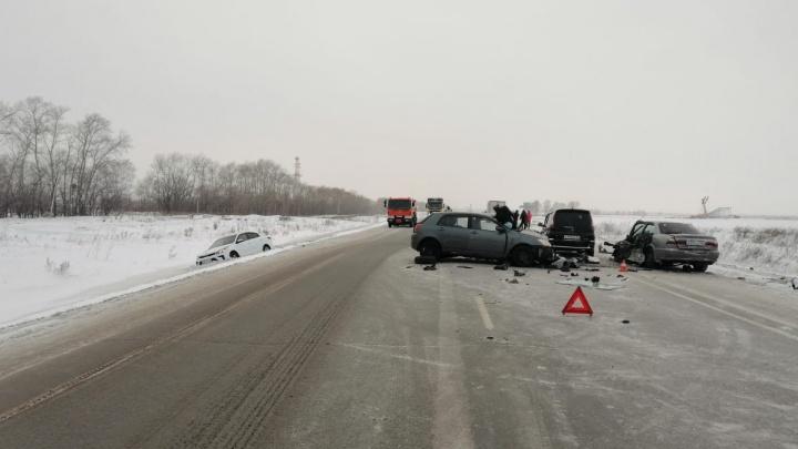 Женщина-водитель погибла, трое детей и двое взрослых попали в больницу после ДТП под Новосибирском