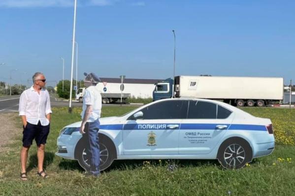 Дорожное движение на Кубани регулируют в том числе и картонные гаишники