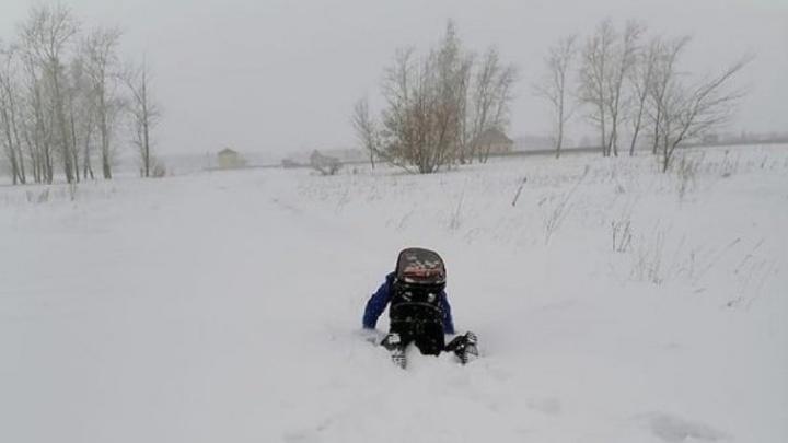В Омском районе расчистят дорогу, по которой дети ползли в школу через сугробы