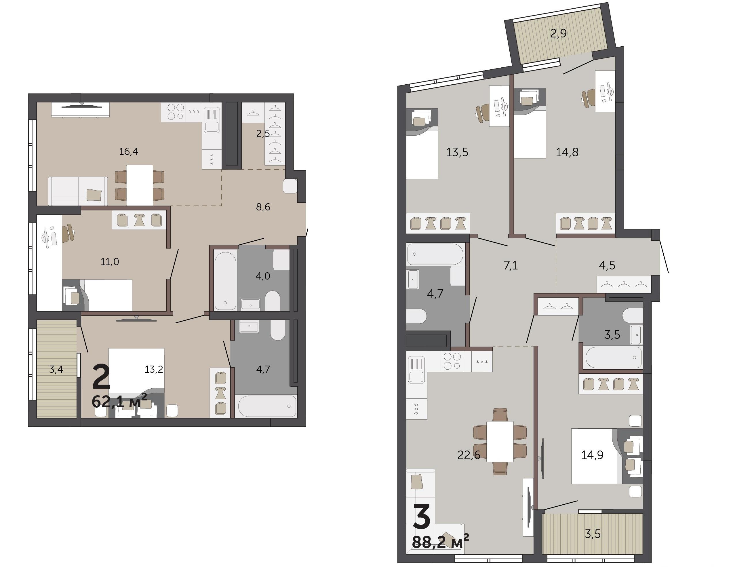 Квартиры с мастер-спальнями весьма популярны у семей с детьми