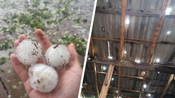 «Побило крыши, огороды и машины»: на деревню под Канском обрушился град с куриное яйцо