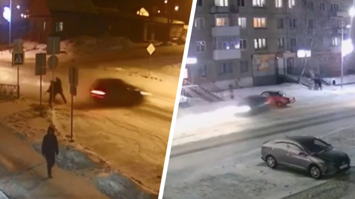 На Урале лихач ушел в занос, врезался в авто и чудом не угробил четырех пешеходов: эпичное видео