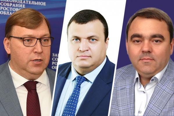 Председатель Заксобрания Александр Ищенко (слева) получил меньше денег, чем депутаты Дегтярёв и Рожков