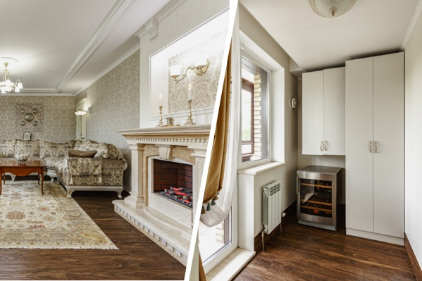 Обстановка в квартире напоминает дворец — здесь кровать с балдахином, лепнина на стенах и камин