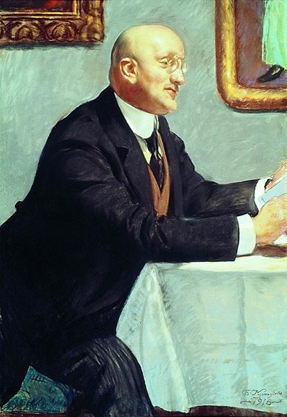 Портрет И. Э. Грабаря работы Кустодиева