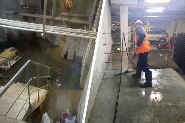 Вода из канализации поднялась в паркинг из подвала