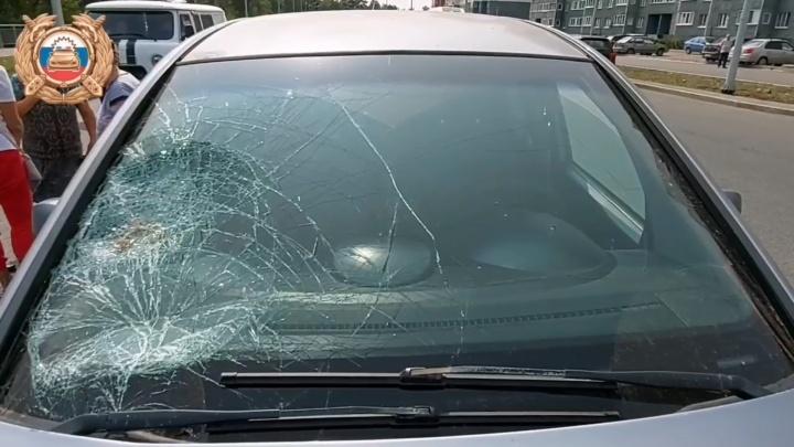 В Уфе женщина с собакой попала под колеса Opel Meriva, перебегая дорогу в неположенном месте