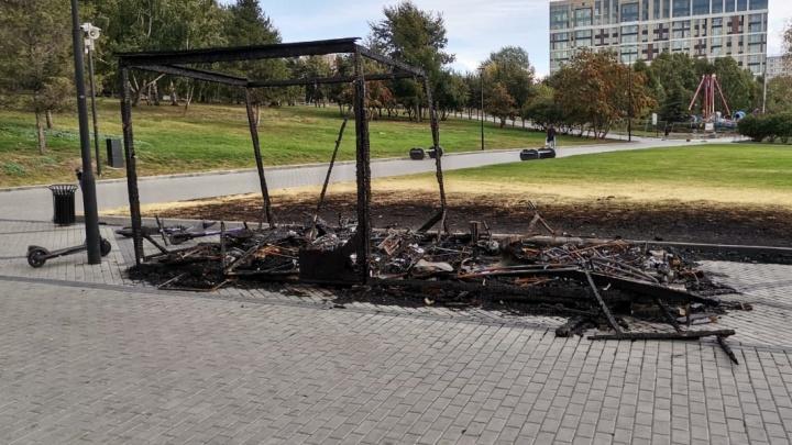 На Михайловской набережной сгоревший пункт электромобилей остался стоять на неделю после пожара