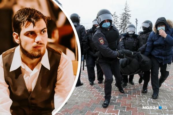 Слева — красноярский активист и либертарианец Глеб Марьясов. Справа — сцена задержания на митинге в Красноярске