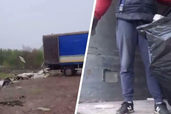 Мужчина уверенно опустошал свой грузовик от мусора