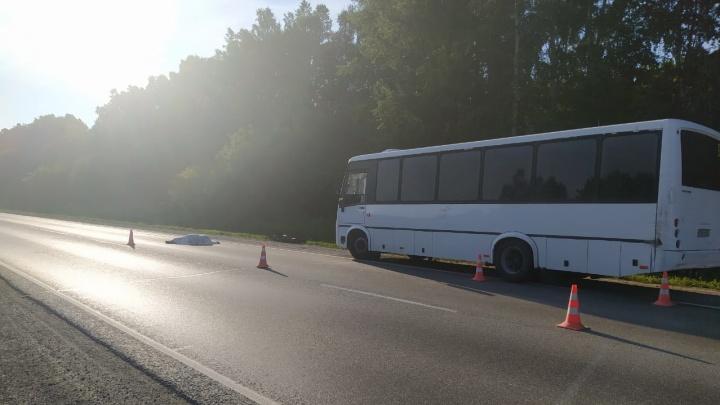 Водитель автобуса вышел заменить колесо на новосибирской трассе и попал под машину