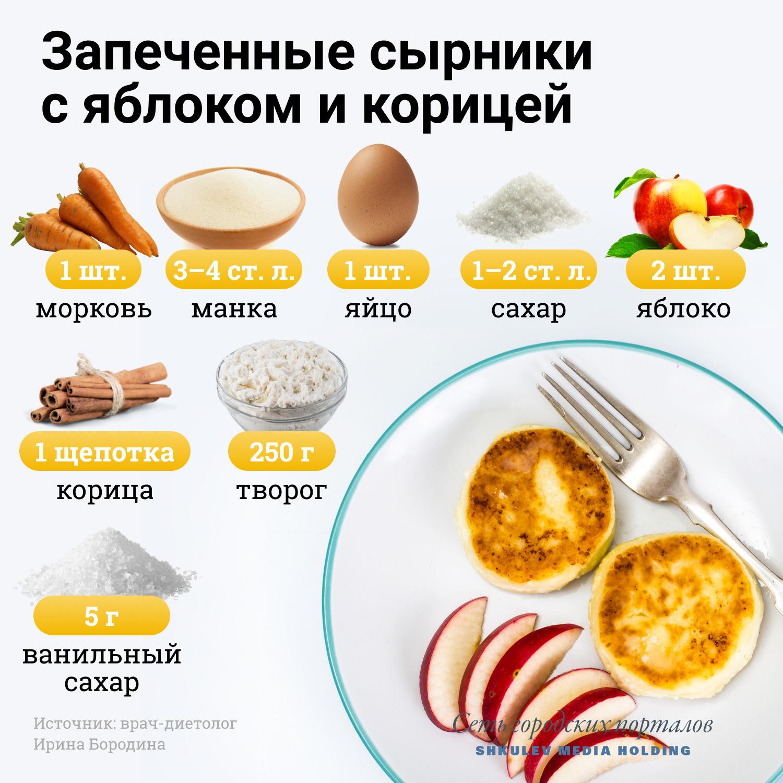 Рецепт сырников с яблоком и корицей