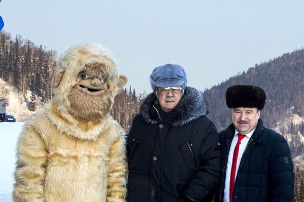 На фото бывший губернатор Кузбасса Аман Тулеев с главой Таштагольского района Владимиром Макутой