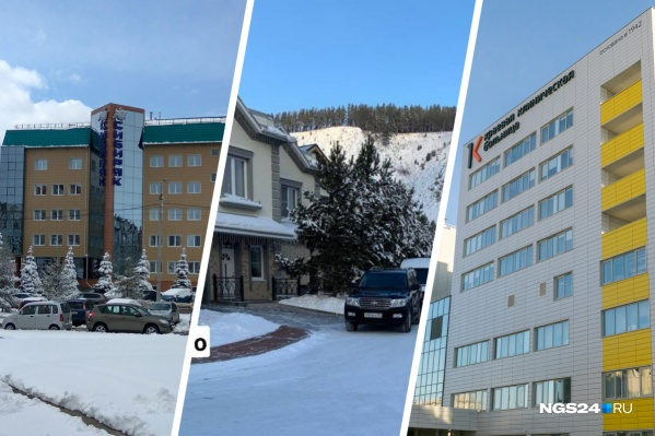 Слева — офис компании «Сибиряк», в центре — особняк Константина Егорова, справа новый корпус краевой больницы, построенный «Сибиряком»