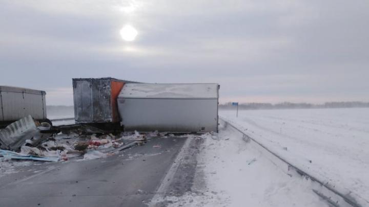На федеральной трассе в Новосибирской области столкнулись два грузовика — один человек погиб