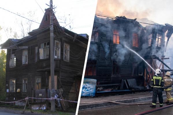 """И до пожара дом Брагина, пожалуй, переживал тяжелые <nobr class=""""_"""">времена —</nobr> <nobr class=""""_"""">в 2019 году</nobr> там обрушилась крыша, обломки падали на козырек подъезда"""