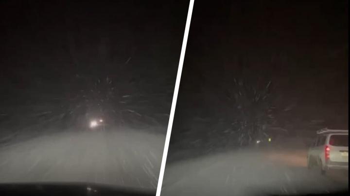 В Новосибирской области ночью трассу замело снегом — очевидец снял это на видео