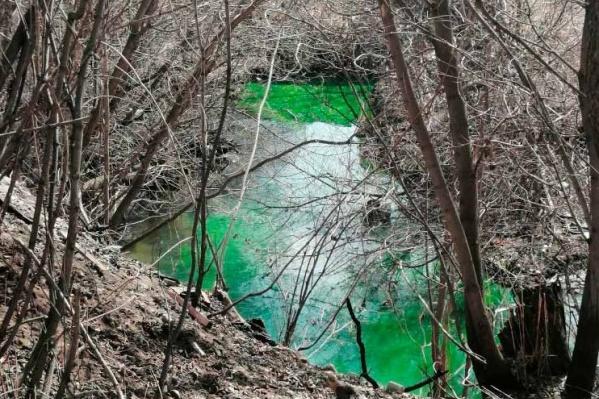 Фото реки Данилихи сделали на днях местные жители. Ее цвет изменился на яркий изумрудный