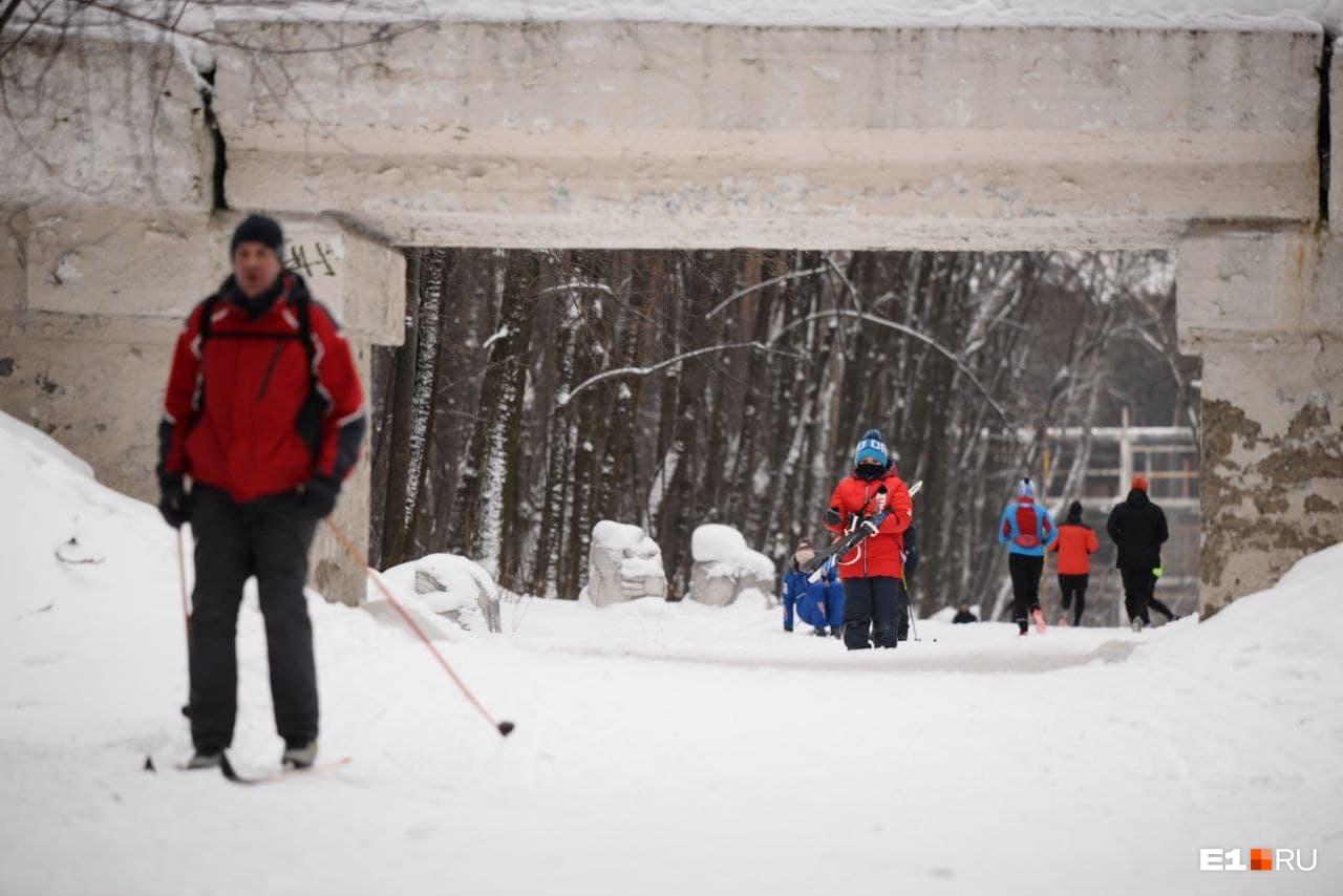 Мимо соревнующихся лыжников гуляли обычные посетители парка