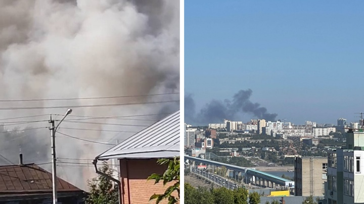 Над правым берегом Новосибирска поднялся столб черного дыма. Что горит?