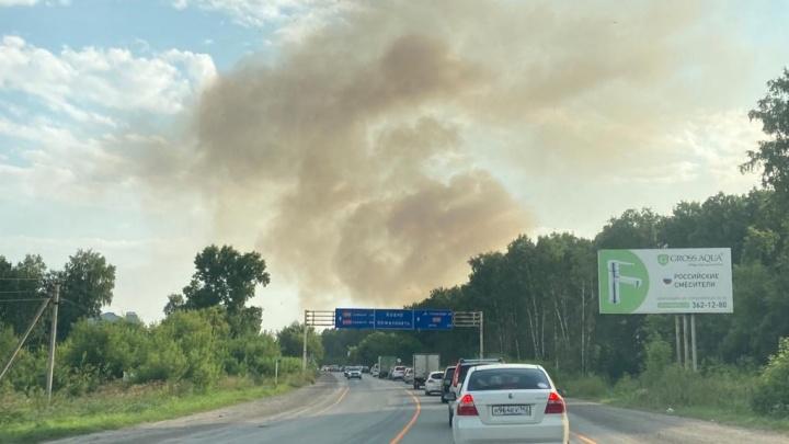 Над Гусинобродским шоссе поднялся столб дыма — объясняем, что происходит
