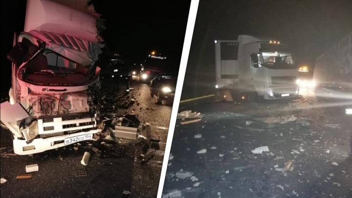 Водитель КАМАЗа погиб на трассе в лобовом столкновении с другим грузовиком — его отбросило в фуру