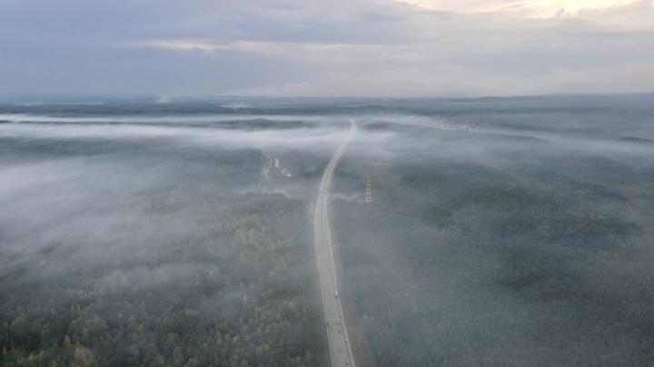 Едкий запах распространился на километры: летаем над утопающим в дыму Пермским трактом