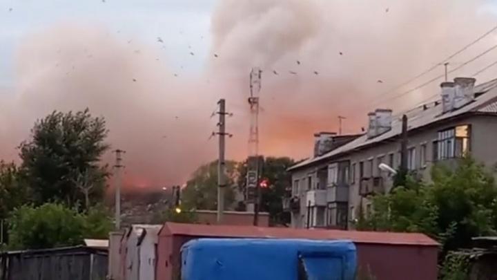 В Новосибирске загорелся мусорный полигон на левом берегу — огонь попал на видео