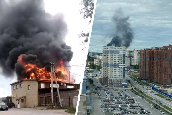 Дым от пожара виден в разных частях города